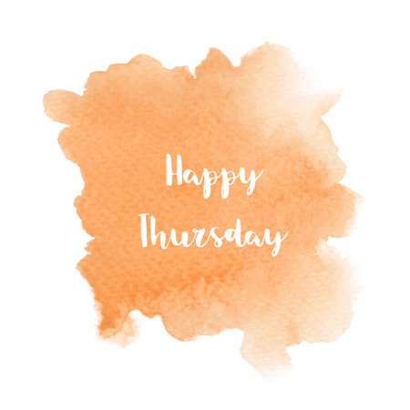 Happy Thursday text on orange watercolor background. Imagens