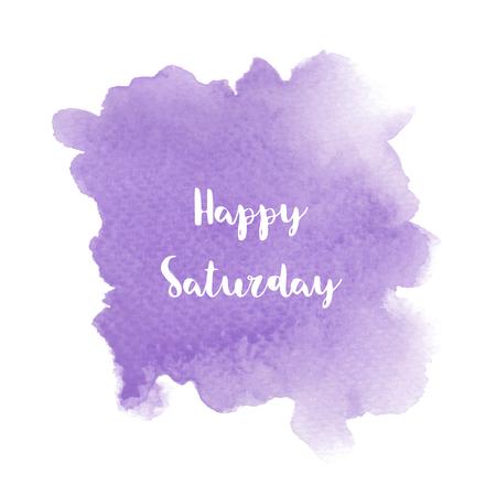 紫色の水彩背景に幸せな土曜日のテキスト。 写真素材