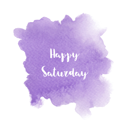 Happy Saturday text on violet watercolor background.