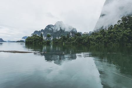 Mountains at Khao Sok National Park in Surattani, Thailand. Vintage tone.