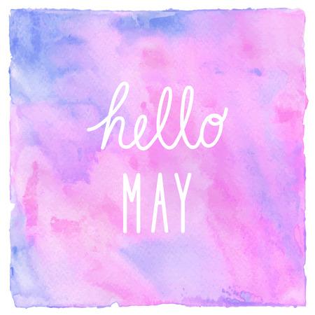 Bonjour Texte de mai sur fond d'aquarelle bleu et violet rose.