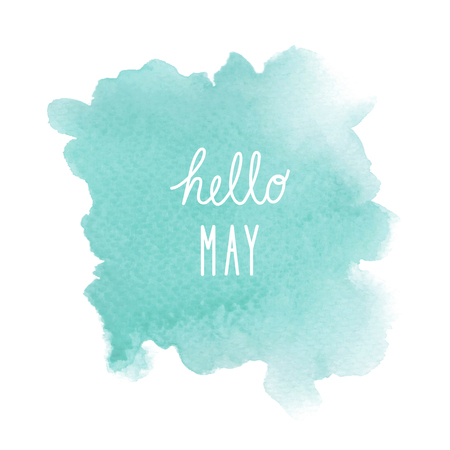 mess: Hello May greeting with green watercolor background. Stock Photo