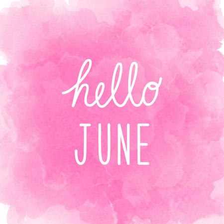Salut June salut sur fond d'aquarelle rose abstrait.