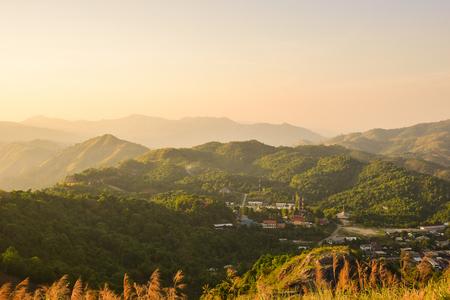 Sunset at Nern Chang Suek in Pilok, Thong Pha Phum, Kanchanaburi, Thailand.