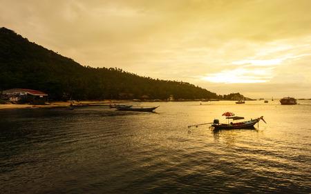 SURATTHANI, THAILAND - JANUARY 10, 2017 : Sunset on the beach at Koh Tao in Suratthana, Thailand.