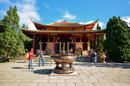 DALAT, VIETNAM - NOVEMBER 27, 2016: Unidentified tourists in Thien Vien Truc Lam Monastery at Dalat, Vietnam.