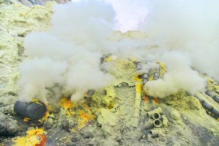 Sulfur in Kawah Ijen volcano crater, East Java, Indonesia
