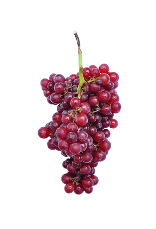 Red grapes isolated on white background.
