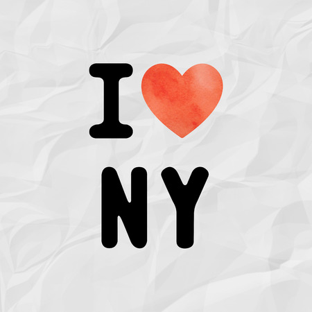 I love NY with red watercolor heart on crinkle paper.