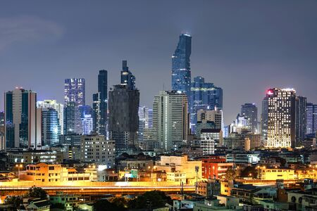 BANGKOK, THAILAND - OCTOBER 14, 2018 : Cityscape buildings at night in Bangkok, Thailand. Editorial