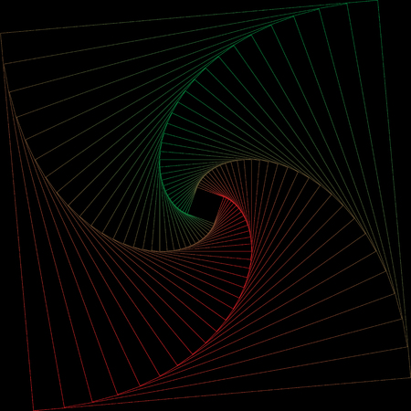Red and green geometric line art frames on black background. Çizim