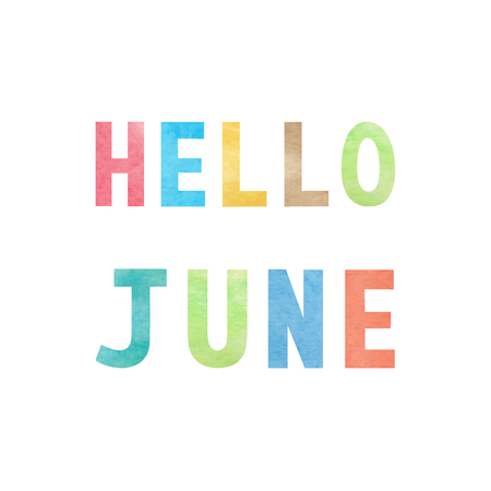 Hello June with colorful watercolor on white background. Vektorové ilustrace