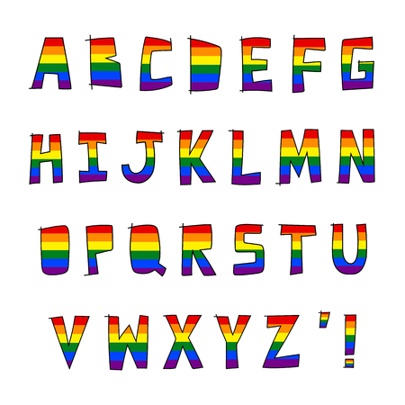 Bandera arco iris LGBT en alfabeto dibujado a mano de la A a la Z.