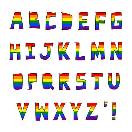 Regenbogen LGBT-Flagge auf Hand gezeichnetes Alphabet von A bis Z