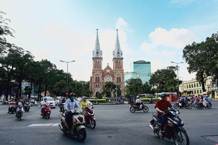 HO CHI MINH, VIETNAM - NOVEMBER 23, 2016: Notre Dame Cathedral (Vietnamese: Nha Tho Duc Ba). It was constructed between 1863 and 1880.