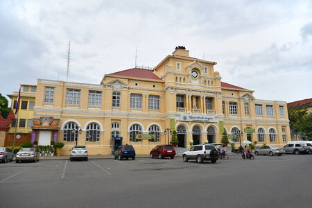 PHNOM PENH, CAMBODIA - JULY 08, 2015 :  Cambodia Post Office in Phnom Penh. It was built during the French Colonial period.