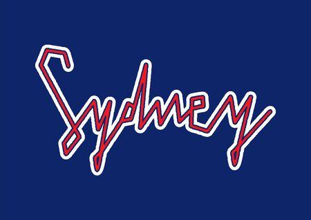 Sydney hand lettering on blue background.