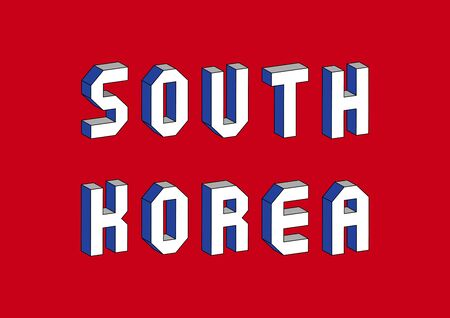 South Korea text with 3d isometric effect.