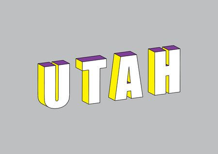 Utah text with 3d isometric effect. 向量圖像