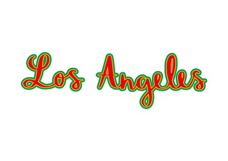 Los Angeles hand lettering with colorful patterns on white background.