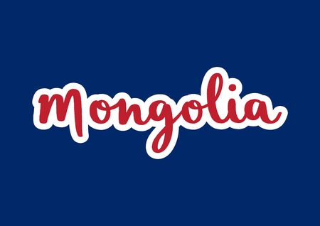 Mongolia hand lettering on blue background.