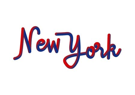 New York hand lettering with red and blue 3d effect on white background. Illustration