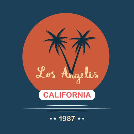 Los Angeles hand lettering with palm trees, print design for t-shirt and other uses 일러스트