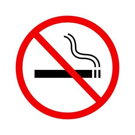 No smoking sign vector icon in flat style on white background Illusztráció