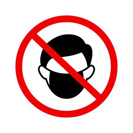 Kein Maskenzeichen-Vektorsymbol im flachen Stil auf weißem Hintergrund Vektorgrafik