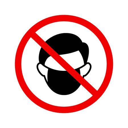 No wear mask sign vector icon in flat style on white background Vector Illustration
