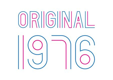 Blue and pink original year 1976 text on white background. Vettoriali