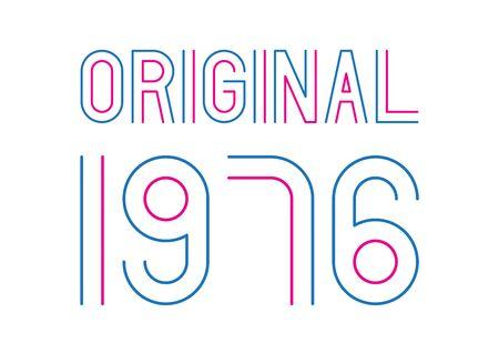 Blue and pink original year 1976 text on white background. Vektoros illusztráció