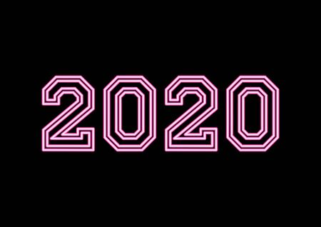 Year 2020 neon text with pink colors on black background. Иллюстрация