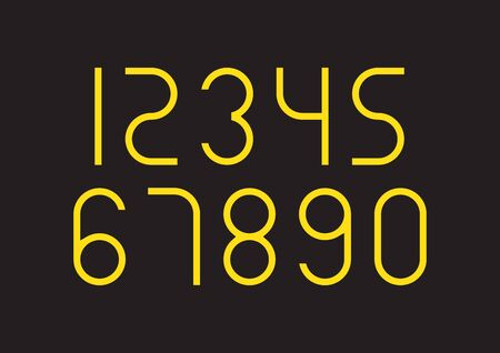 Set of numbers with yellow typography design elements 1, 2, 3, 4, 5, 6, 7, 8, 9, 0.