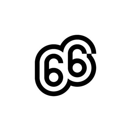 Number 66 vector icon design for for website, infographic, brochure, cover, celebration event, invitation, greeting, web template. Ilustração