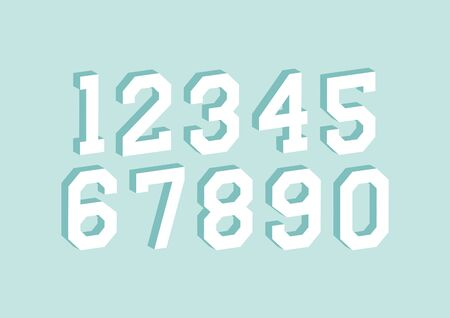 Set of numbers with with 3d isometric effect on green background.