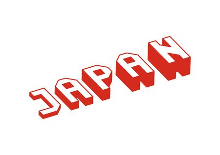 Japan text with 3d isometric effect.