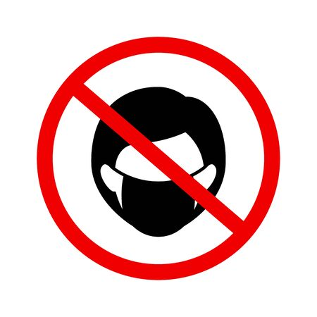 No wear mask sign vector icon in flat style on white background. Woman face symbol. Vetores