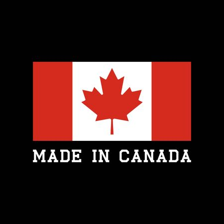 Made in Canada icon with Canadian flag. Label vector logo for package design. Logo