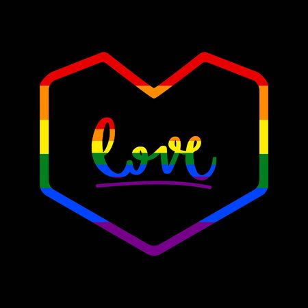 Love hand drawn lettering with heart icon. Greeting card with rainbow LGBT flag.