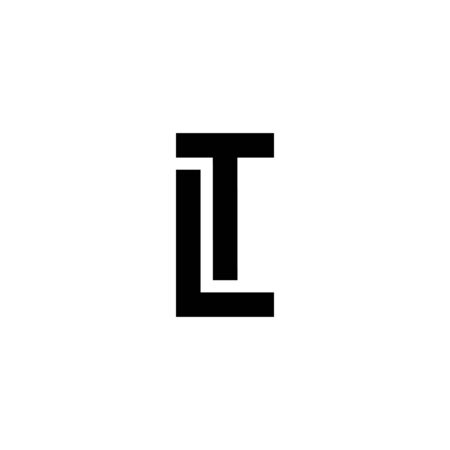 Black and white letter LT TL L T initial logo icon. Modern typography design template elements.
