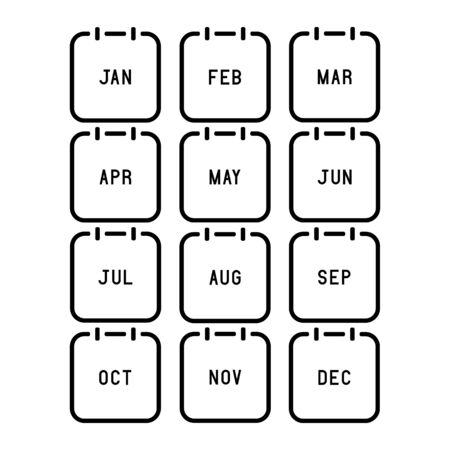 Month calendar flat icon on white background. Vector Illustration.