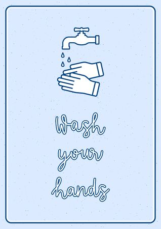 Wash your hands hand lettering with washing hand vector icon sign.