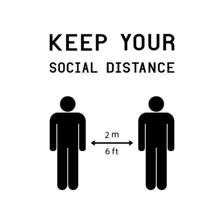 COVID-19 Coronavirus-Vektorsymbol mit Konzept der sozialen Distanz. Halten Sie Ihre soziale Distanz ein.