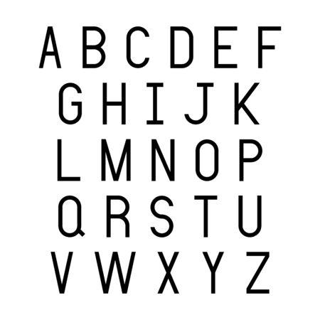 Black alphabet letters on white background.