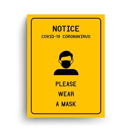 Avis Veuillez porter un masque pour éviter le coronavirus COVID-19. Vecteurs