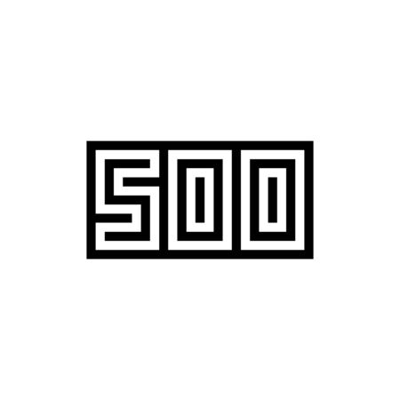 Number 500 icon design with black and white background. Vector illustration.
