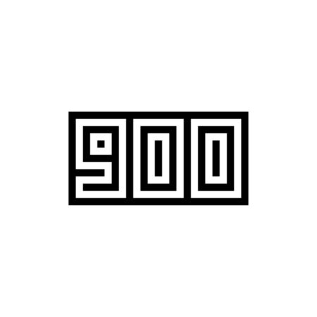 Number 900 icon design with black and white background. Vector illustration.