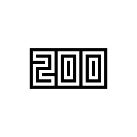 Number 200 icon design with black and white background. Vector illustration. Иллюстрация