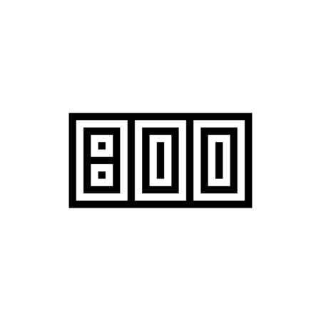 Number 800 icon design with black and white background. Vector illustration. Иллюстрация